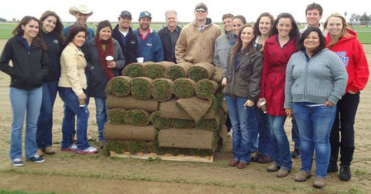 Ag Business Students with sod