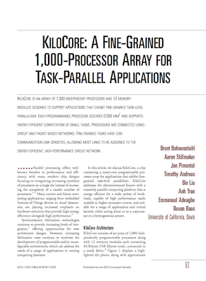 First Page of the KiloCore MICRO paper