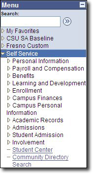 My Fresno State PeopleSoft HCM Menu Self Service Image