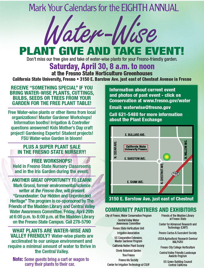Water-Wise Plant Give and Take Event, Sat., April 30, 8am-Noon, Fresno State Horitculture Unit