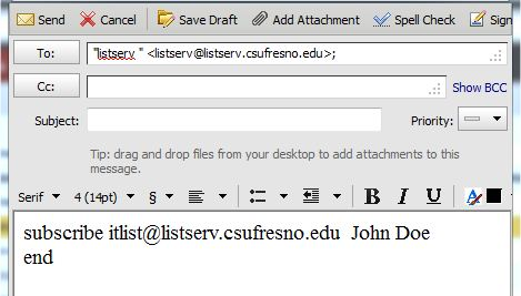 example of how to subscribe to listserv