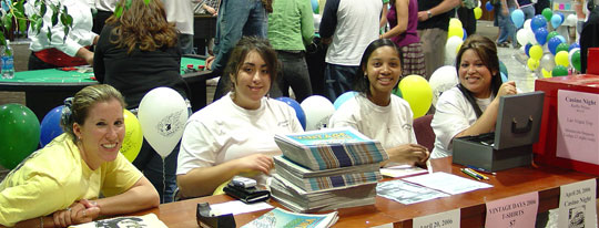 Journalism students distributing publications