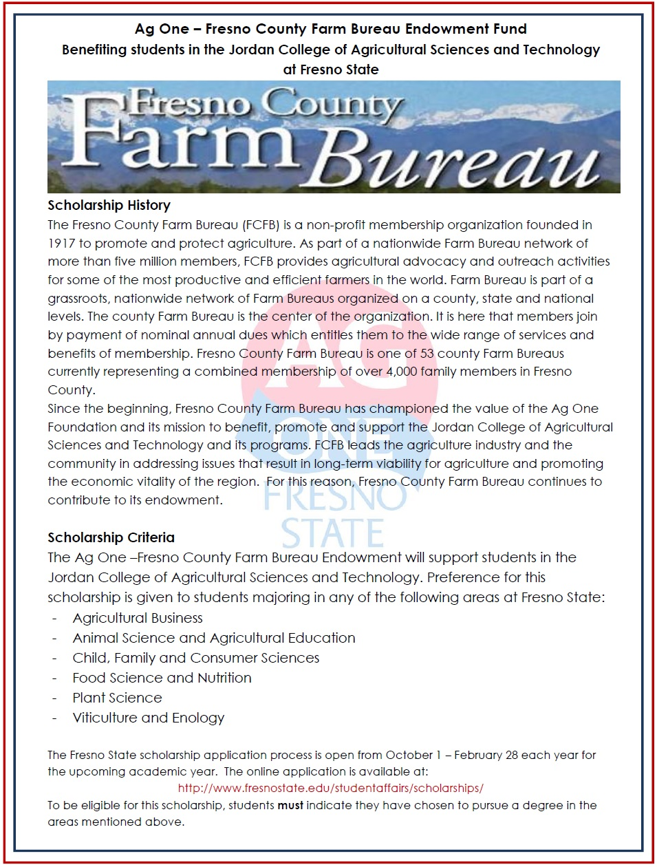 Fresno County Farm Bureau Endowment Description